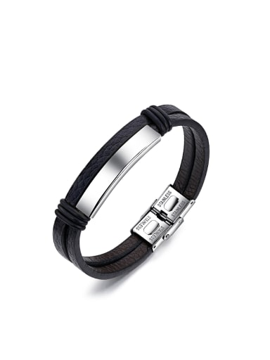 Simple Smooth Titanium Artificial Leather Bracelet