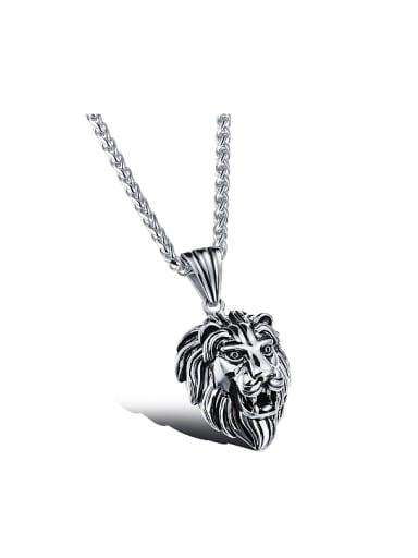 Punk style Personalized Lion Head Pendant Titanium Necklace