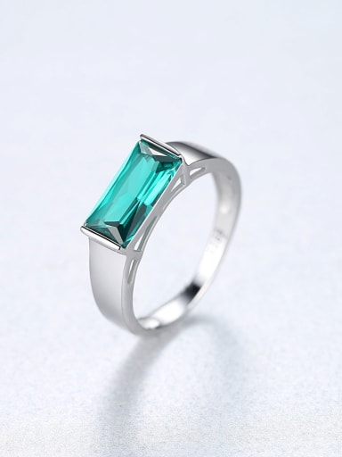 Sterling Silver square Green zircon ring
