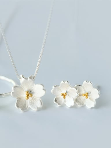 925 Sterling Silver With Silver Plated Romantic Flower 3 Piece Jewelry Set