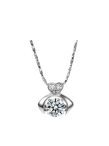 Copper Alloy White Gold Plated Fashion Zircon Necklace