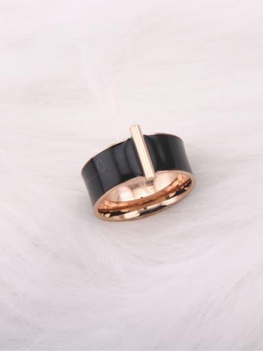 Geometric Black Ceramic Fashion Ring