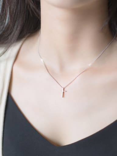 Women Elegant Cross Shaped S925 Silver Necklace