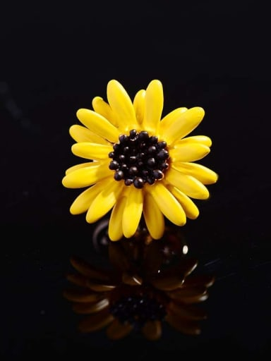 Copper With Enamel Cute Flower Daisy Lapel Pins