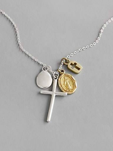925 Sterling Silver With Platinum Plated Simplistic Cross Necklaces