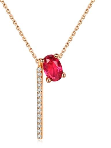 Copper inlay AAA zircon red semi-precious stone fashion simple necklace