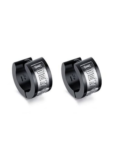 Personality Black Gun Plated Titanium Clip Earrings