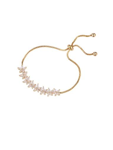 Copper With Cubic Zirconia  Fashion Flower Adjustable Bracelets