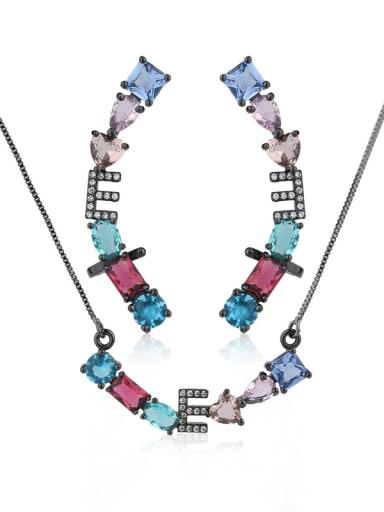 Copper With Glass stone Fashion Geometric 2 Piece Jewelry Set
