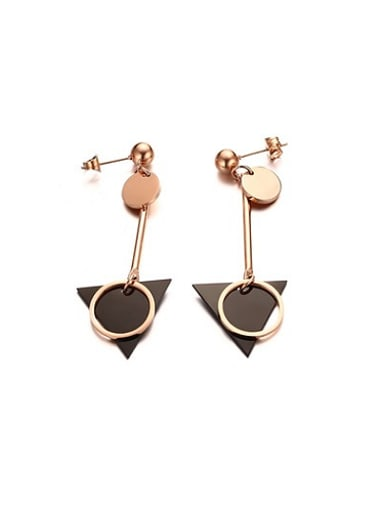 Temperament Black Gun Plated Triangle Shaped Titanium Drop Earrings