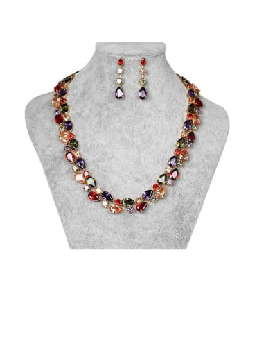 Copper With Rose Gold Plated Luxury Geometric Earrings And Necklaces 2 Piece Jewelry Set