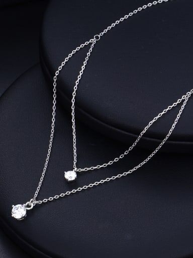 Copper Alloy White Gold Plated Fashion Multi-layer Zircon Necklace