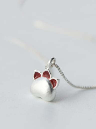 S925 silver lovely cat's paw pendant