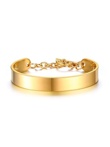 Personality Gold Plated High Polished Titanium Bangle
