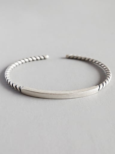 925 Sterling Silver With Antique Silver Plated Vintage square tube Bracelet