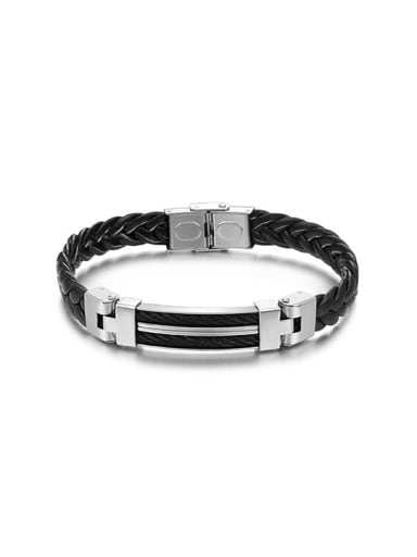 Titanium Black Woven Artificial Leather Men Bracelet