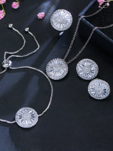Luxury AAA Zircon Round Necklace Earrings Bracelet ring 4 Piece jewelry set