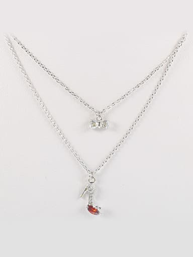 Double Layers High-heeled Shoe Bowknot Necklace