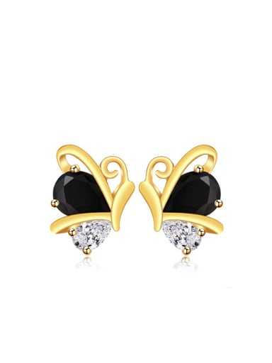 Copper Alloy 24K Gold Plated Ethnic style Butterfly Zircon Stud clip on earring