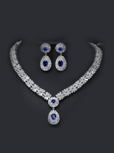 Color Zircon Two Pieces Jewelry Set