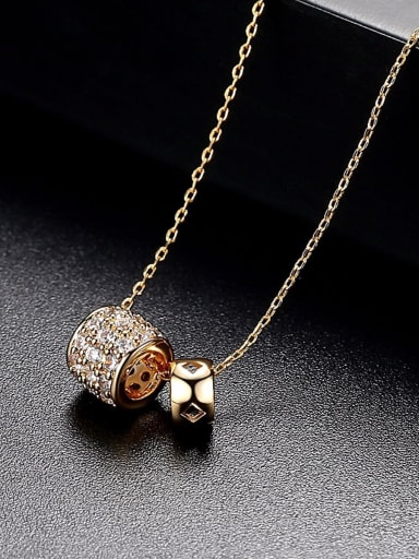 Electroplating 18K -gold inlaid 3A zircon simple fashion double ring MINI necklack