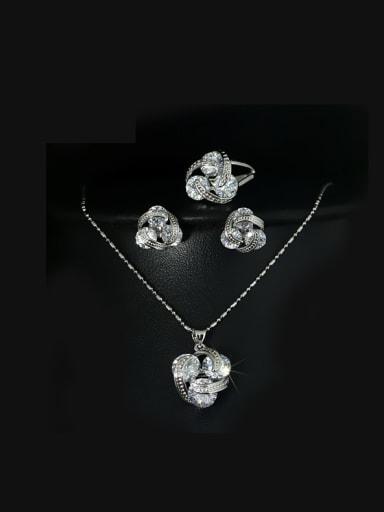 Luxury Three Zircons Jewelry Set