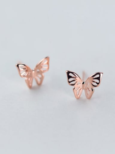 Trendy Rose Gold Plated Butterfly Shaped S925 Silver Stud Earrings