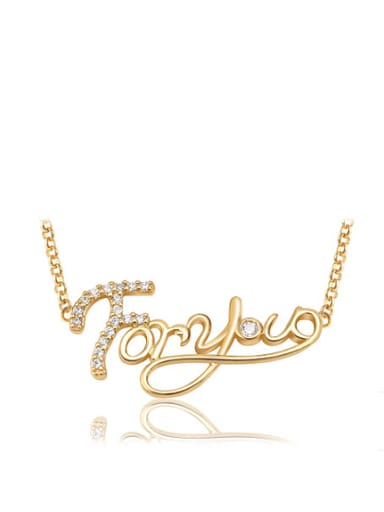 Copper Alloy 18K Gold Plated Fashion Monogrammed Zircon Necklace