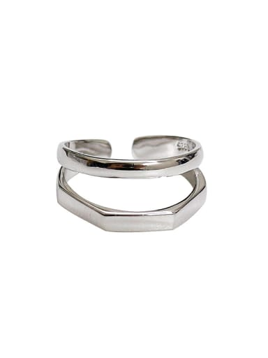Simple Two-band Silver Smooth Opening Ring