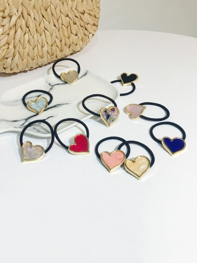 Rubber Band With Cellulose Acetate  Fashion Heart Hair Ropes