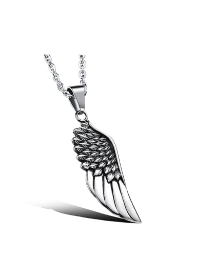 Personalized Titanium Angel Wing Necklace