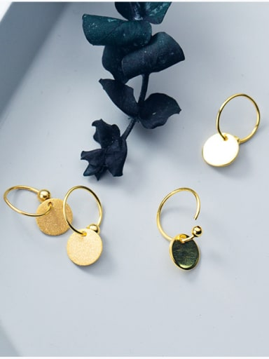 925 Sterling Silver With 18k Gold Plated Delicate Round Drop Earrings