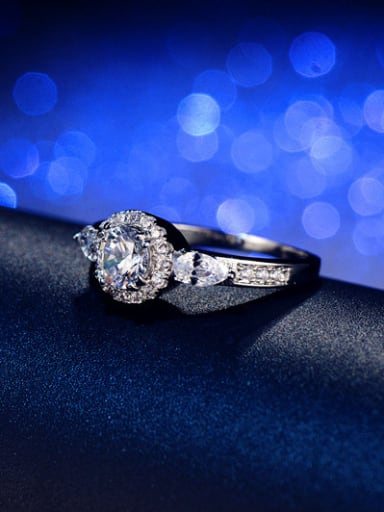 Hearts and Arrows Zircons Engagement Ring