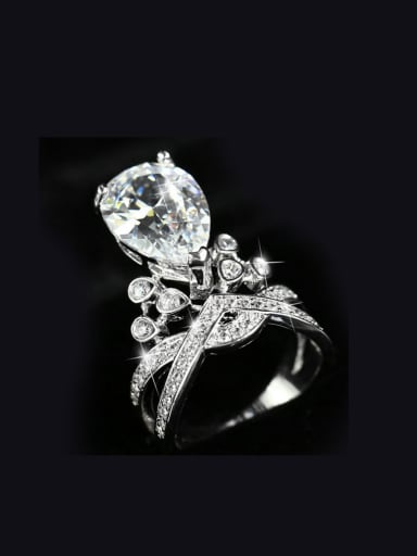 Crown Water Drop Shining Statement Ring
