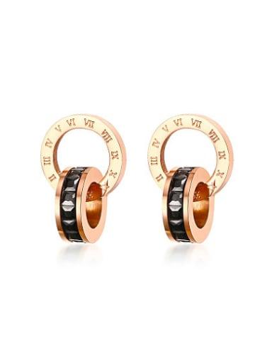 Elegant Rose Gold Plated Geometric Zircon Titanium Drop Earrings