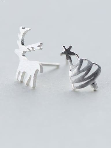 S925 silver lovely elk small tree stud cuff earring christmas