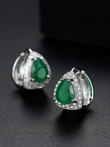 green Copper  With Platinum Plated Luxury Geometric Stud Earrings