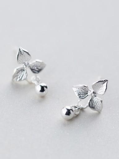 S925 silver fashion sweet flower bead cuff earring