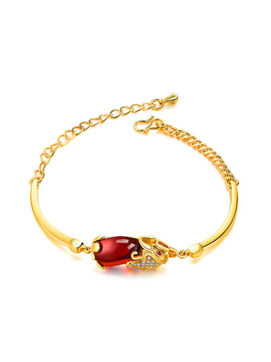 Fashion Ruby Stone Gold Plated Bracelet