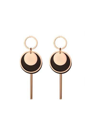 Elegant Double Color Design Geometric Shaped Titanium Drop Earrings