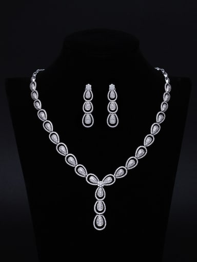 Bridal Wedding Necklace Earrings Noble Two Pieces Jewelry