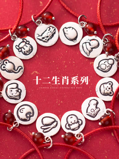 925 Sterling Silver With Platinum Plated Ethnic Twelve constellations Bracelets