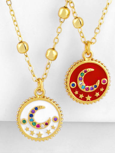 Copper With  Cubic Zirconia Fashion Moon round Necklaces