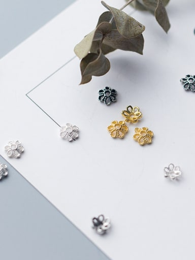 925 Sterling Silver With 18k Gold Plated Classic Flower Bead Tips