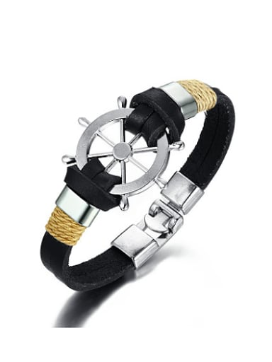 Personality Black Artificial Leather Geometric Alloy Bracelet