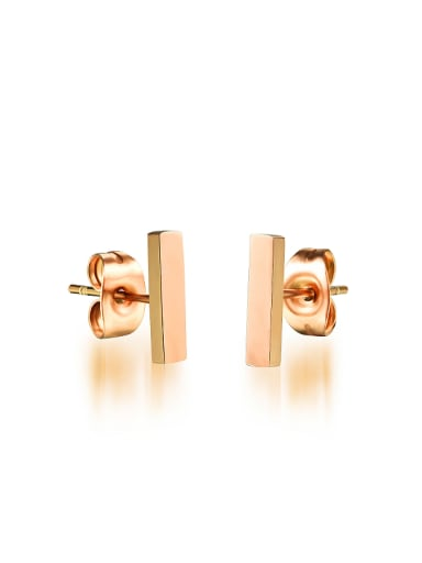 Simple Rose Gold Plated Square Bar Stud Earrings