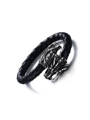 Personality Dragon Shaped Artificial Leather Rhinestone Bangle