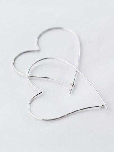 S925 silver exaggerate heart shape hook earring
