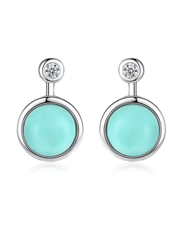 925 Sterling Silver With Turtquoise Fashion Round Stud Earrings