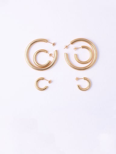 Titanium With Rose Gold Plated Simplistic Smooth Round Hoop Earrings